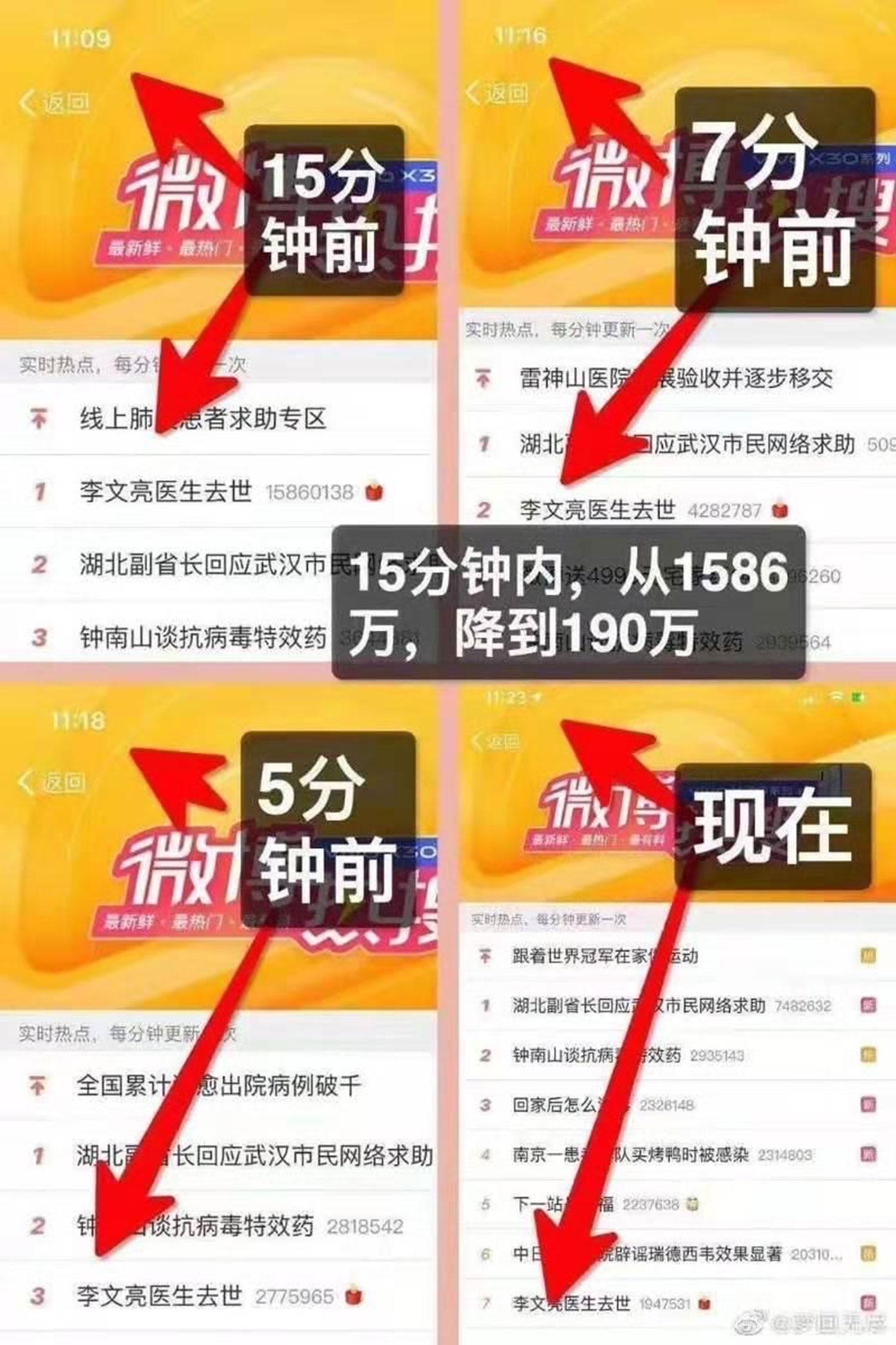 网民关注李文亮医生,当局在关注度上做手脚,人为降低点击量。(网络截图)
