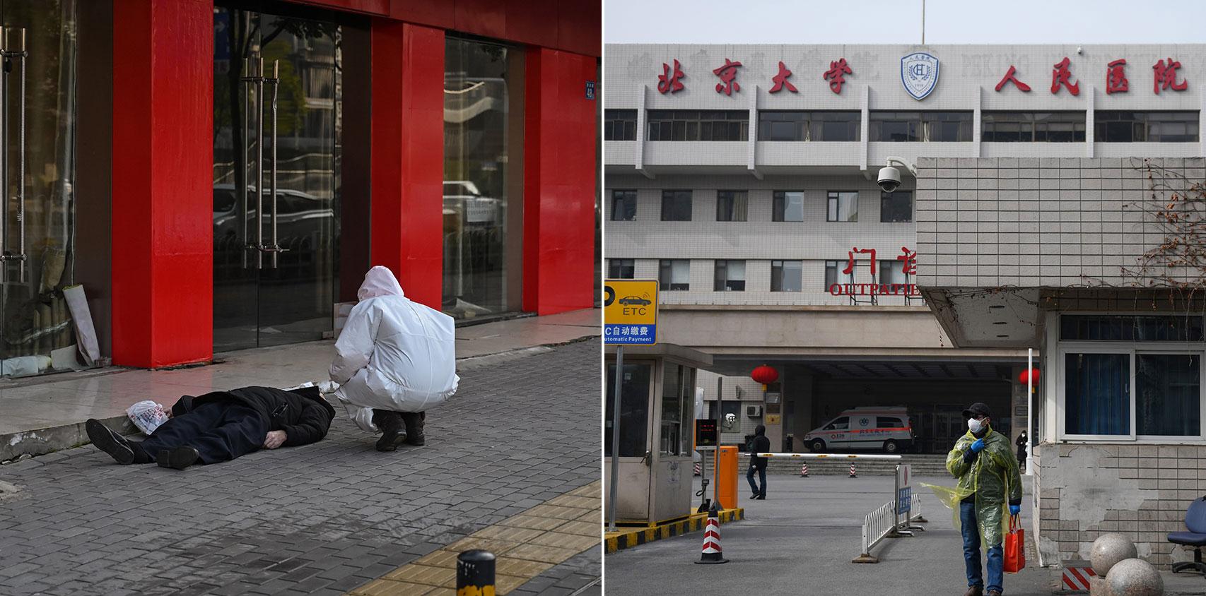"""左图:""""武汉肺炎""""的特点是从无症状到死亡,最快仅数个小时;右图:2020年2月21日,一名男子走在北京大学人民医院外面时,穿上防护服来预防COVID-19冠状病毒。(法新社)"""