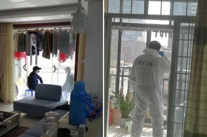左图:一民居的阳台上,两名便衣戒备。右图: 一名穿防护服的公安在居民家戒备。(微信截图/乔龙提供)