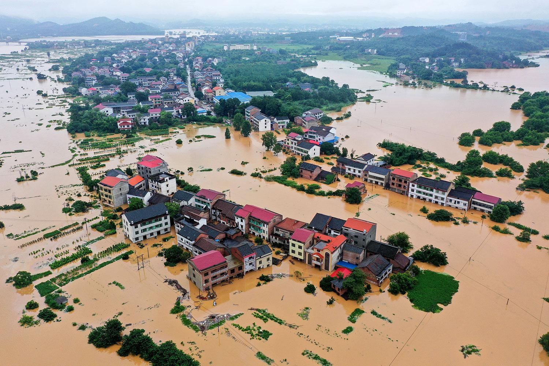 2019年7月9日,湖南衡阳暴雨引发洪灾。(法新社)