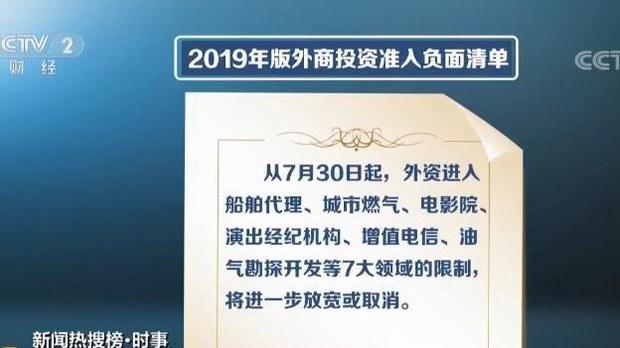 中国公布的2019年版《外商投资准入负面清单》(视频截图/CCTV)