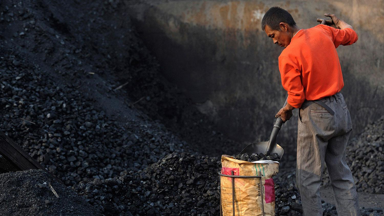 北京报复澳大利亚暂停进口煤炭   中国煤炭价格急升。图为在安徽省合肥市的一个储煤场,一名工人将煤铲入麻袋。(路透社)
