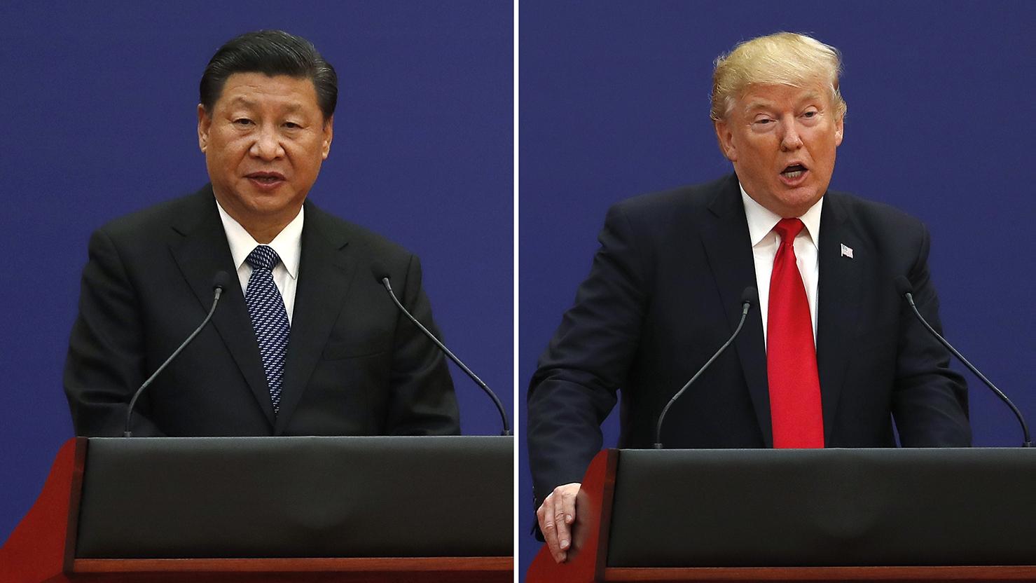 中国国家主席习近平(左)和美国总统特朗普。(美联社)