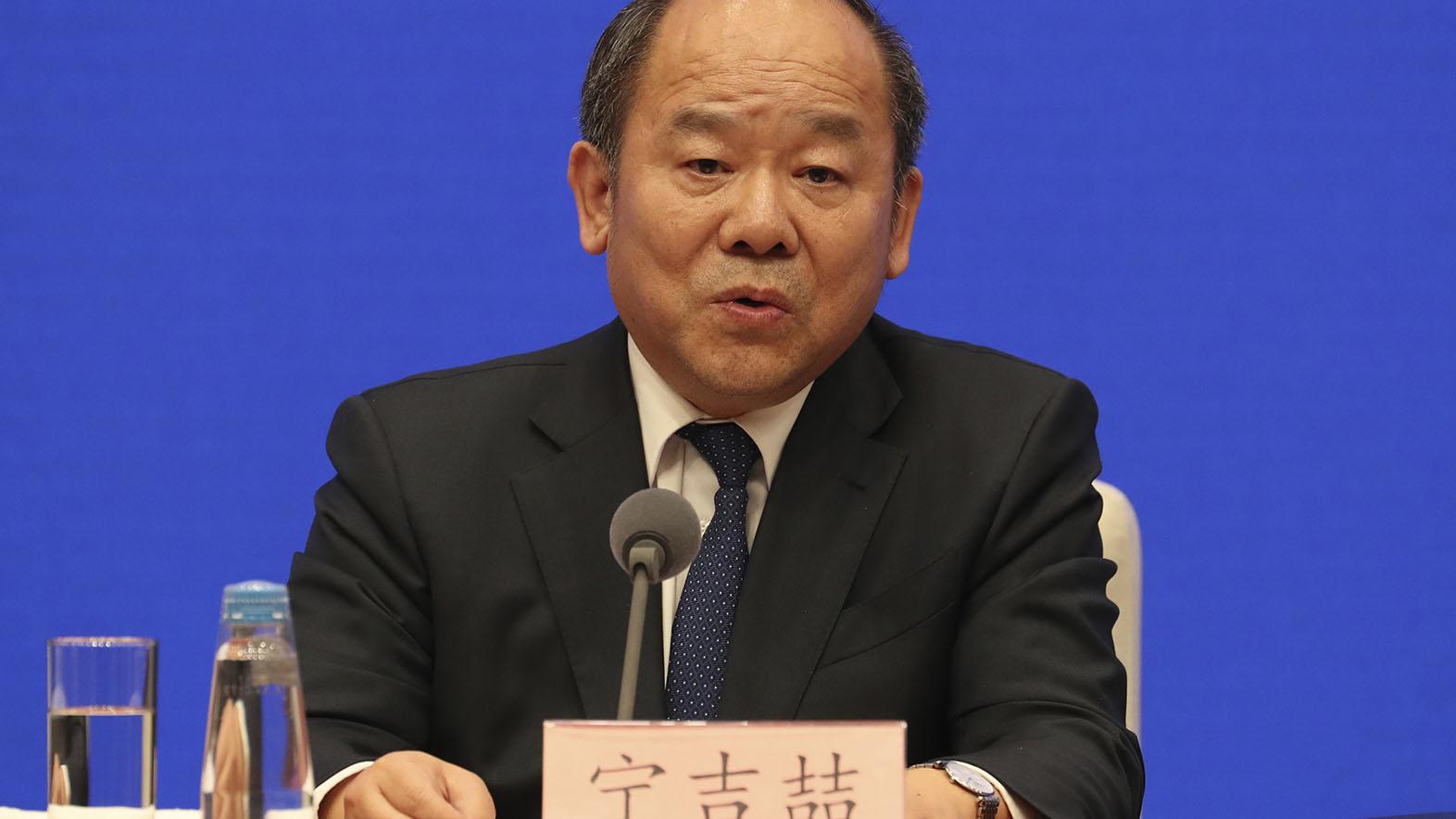 国家统计局局长宁吉喆在记者会上。(美联社)