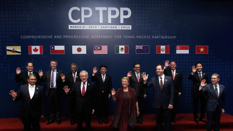 2018年3月8日,CPTPP成員國領導人。(法新社)
