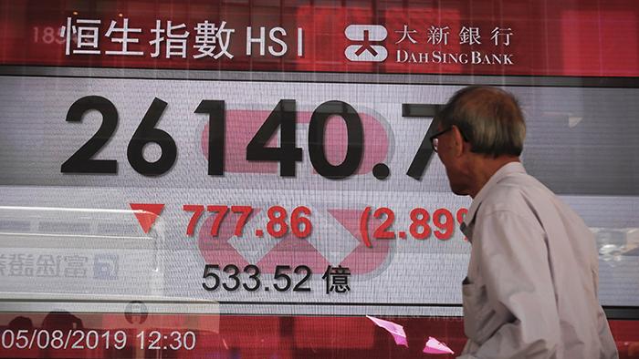 资料图片:2019年8月5日,香港股市大跌。(美联社)