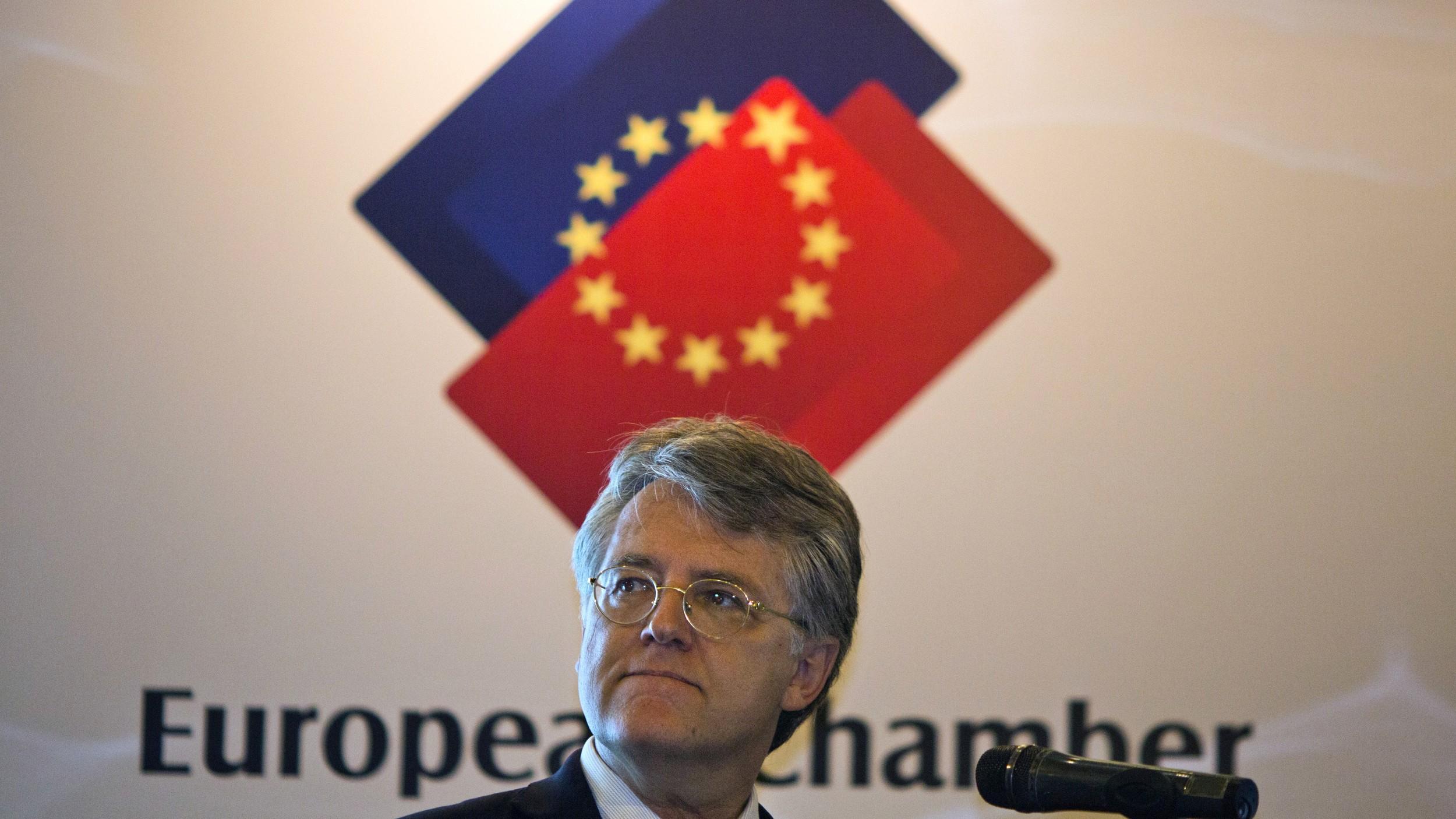 中国欧盟商会主席伍德克(Joerg Wuttke)。(美联社)