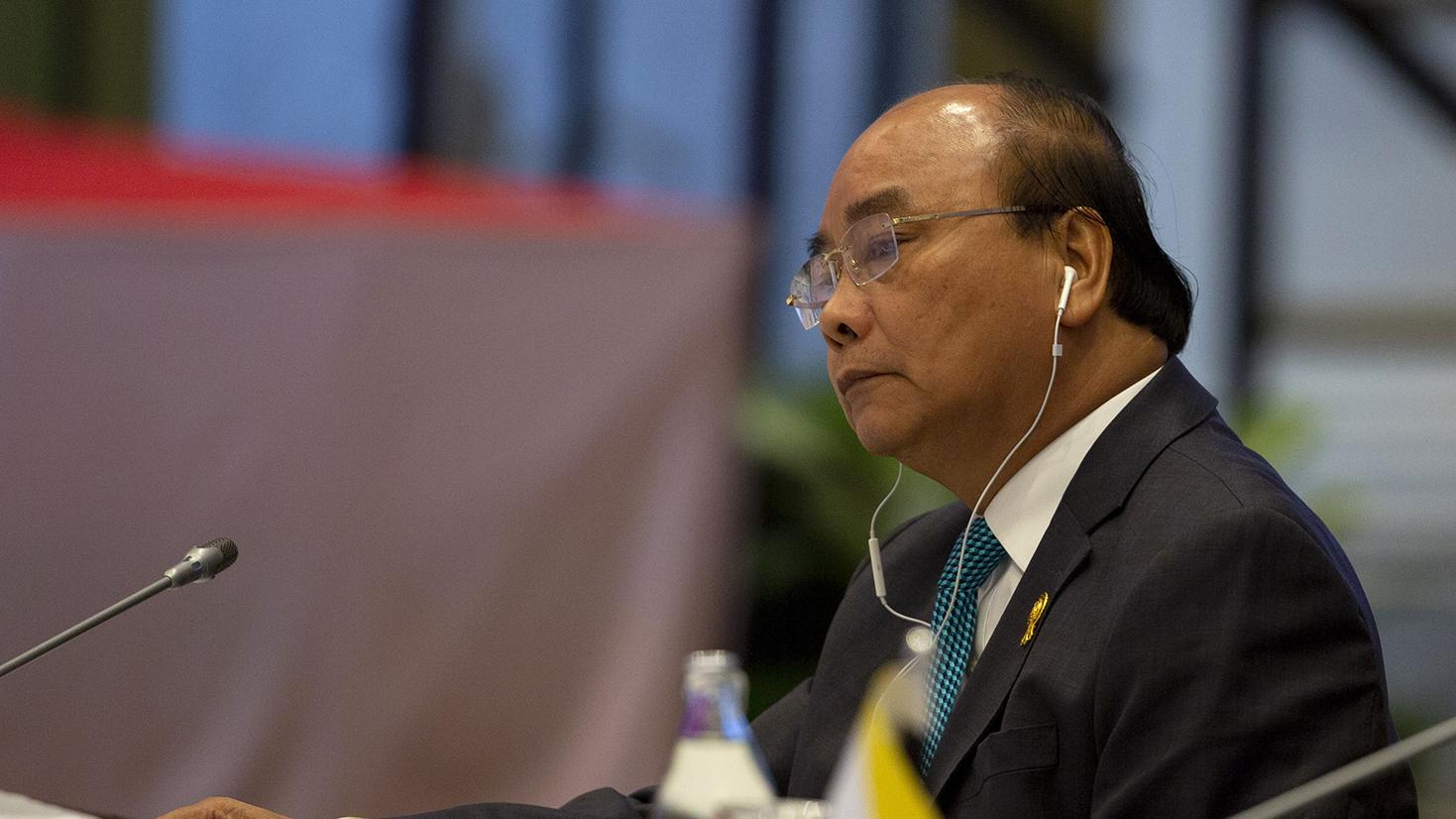 越南总理阮春福在东盟会议上。(美联社)
