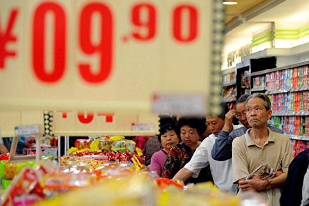 北京一家超市标出的食品价格(法新社)