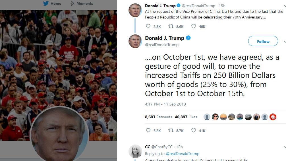特朗普在社交媒体表示,因应中国副总理刘鹤请求,加上10月1日是中国70周年国庆,为了展示善意,将原订当天开始,2500亿美元中国货关稅稅率由25%升至30%的决定,押后半个月至10月15日才执行。(推特图片)