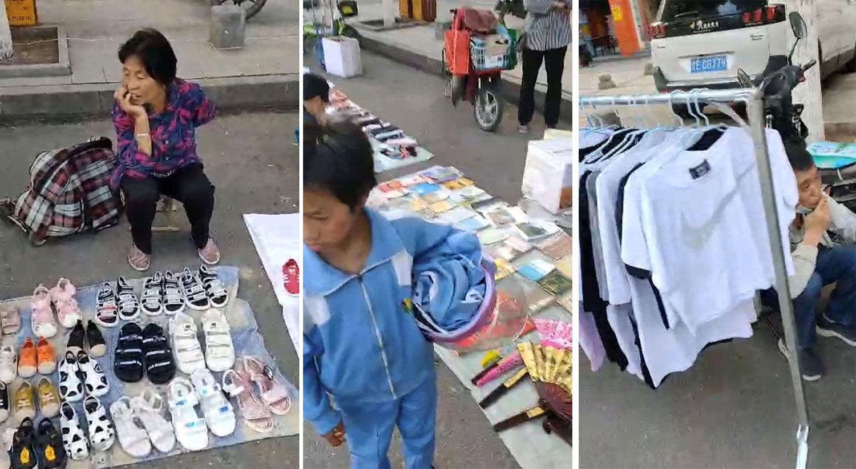 外资撤离,民企倒闭,中国很多居民因此以摆地赚取微博的收入为维生。(志愿者提供视频截图/记者乔龙)