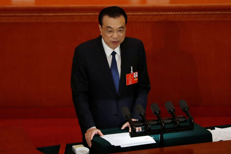 2020年5月22日,中国全国人大会议在北京开召开,中国总理李克强在人大《政府工作报告》中,罕见没有设定今年的GDP目标。(路透社)