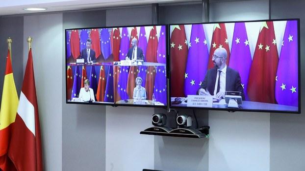 2020年9月14日举行的欧中视频峰会(路透社)