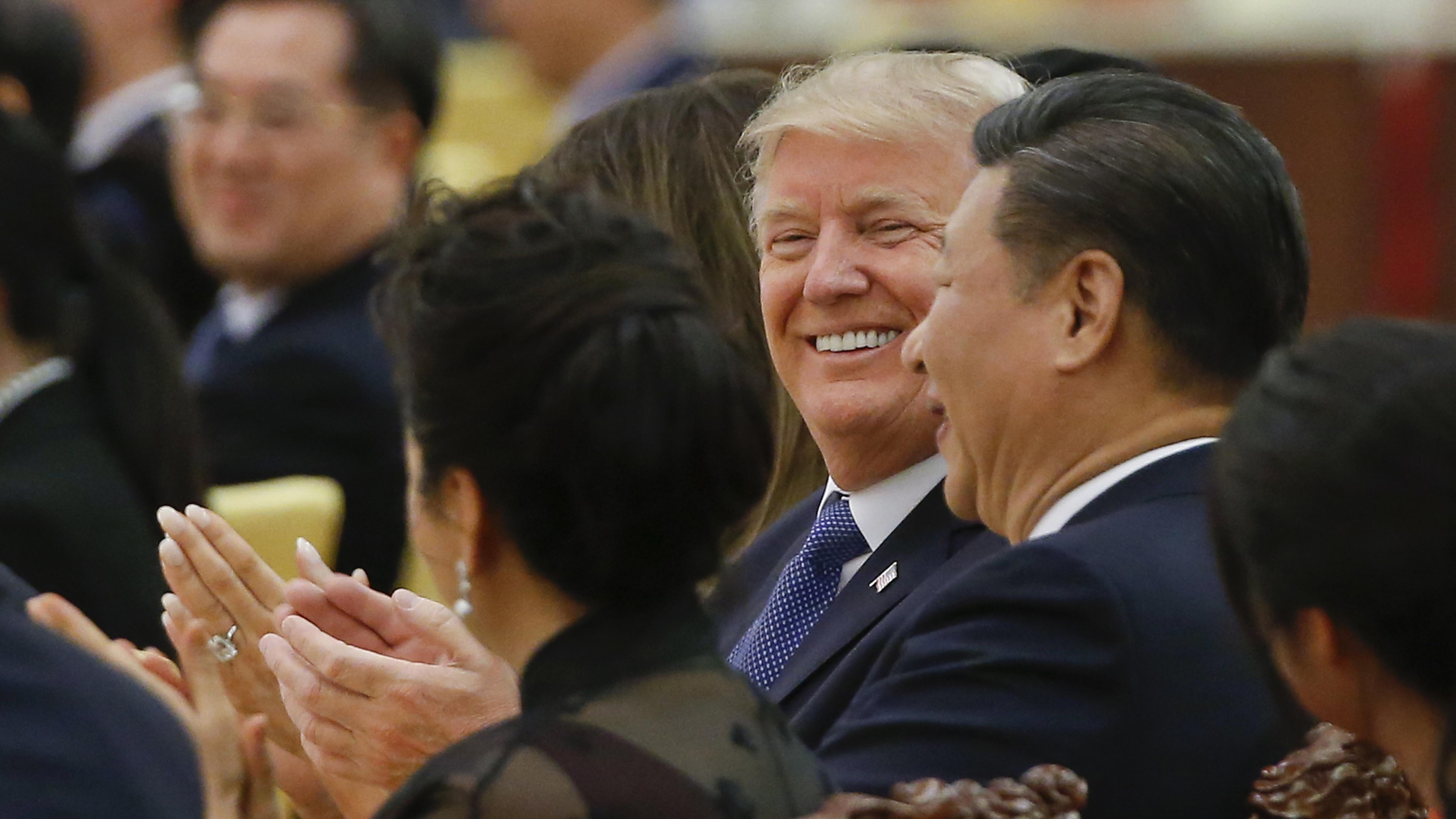 中国国家主席习近平和美国总统特朗普。(美联社)