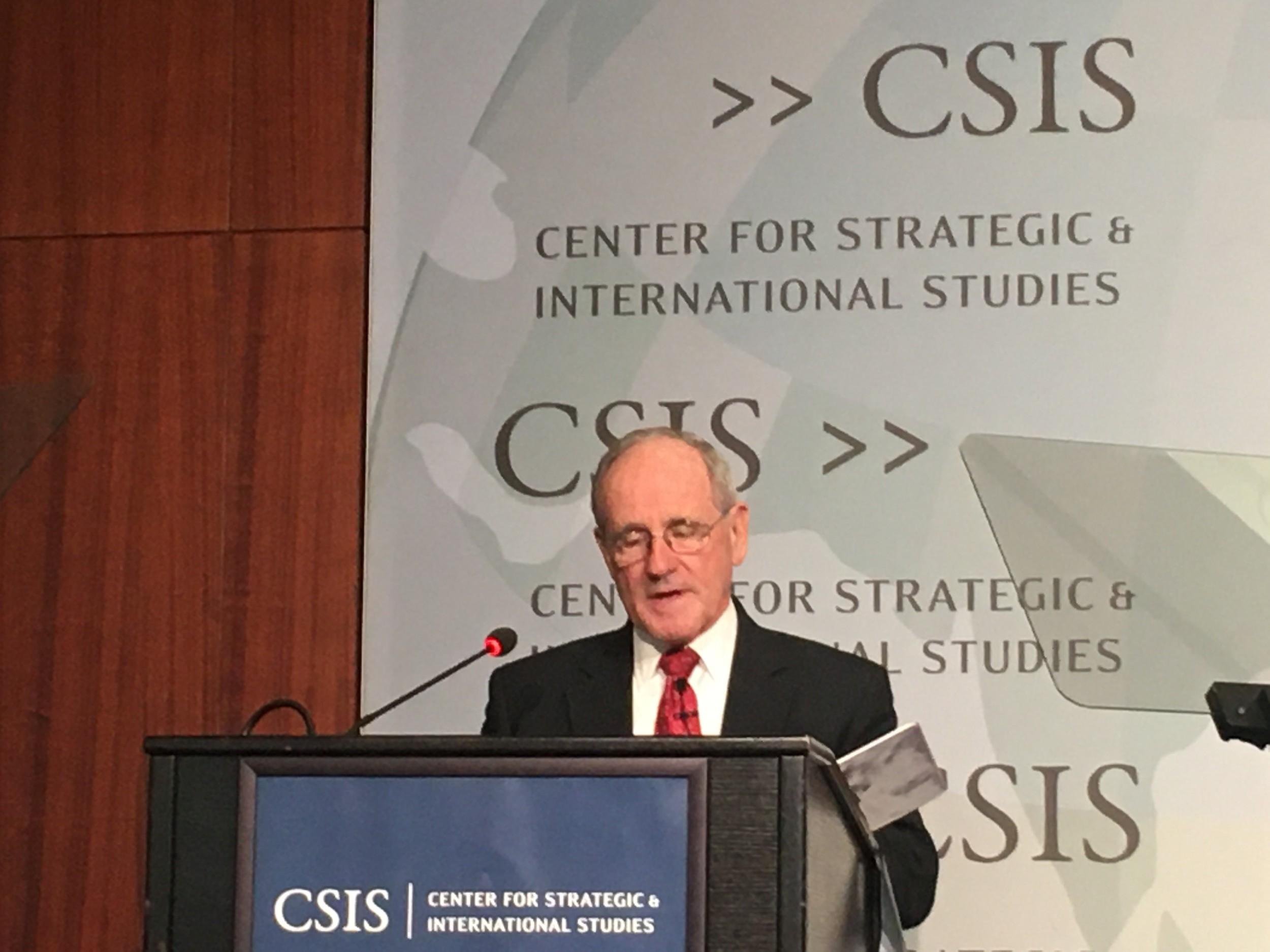 2019年11月12日,參議院外交關係委員會主席吉姆·里施(Jim Risch)在華盛頓戰略和國際研究中心(CSIS)發表關於美歐雙方共同應對中國挑戰的演說。(薛小山攝影)