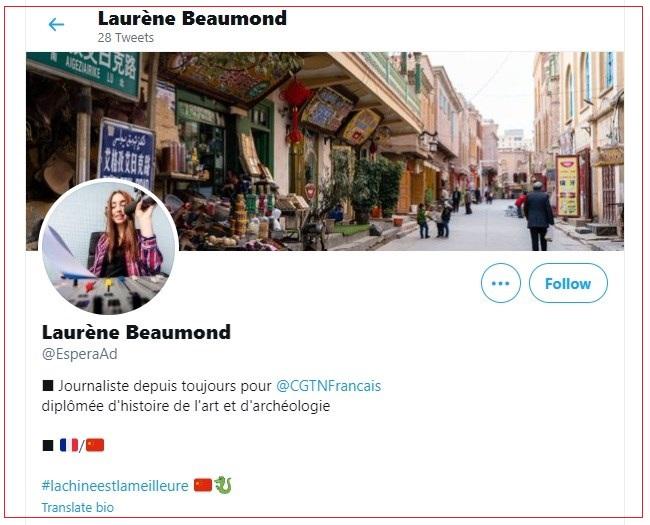 """法国媒体《世界报》(Le Monde)揭露,中国环球电视网(CGTN) 编造假记者""""波孟""""(Laurène Beaumond)身分,散布讯息的操作。(推特图片)"""