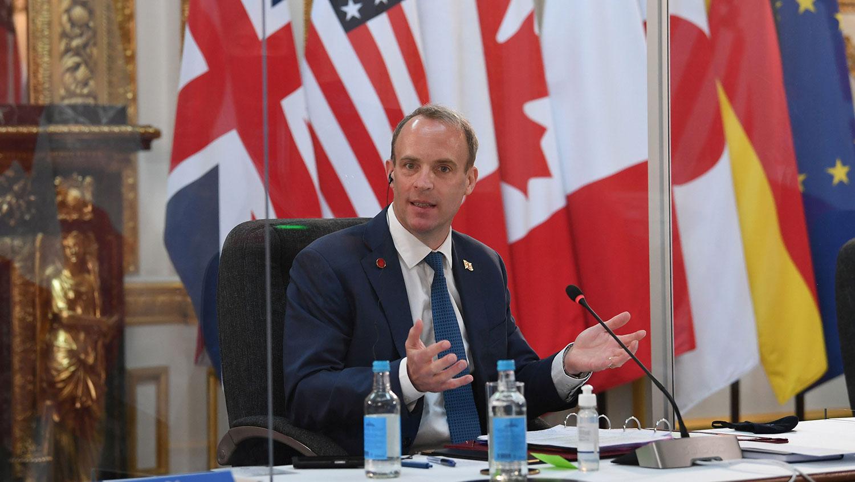 2021年5月4日,英国外交大臣拉布在伦敦兰开斯特宫举行的七国集团外长会议上。 (路透社)