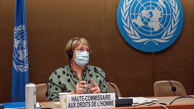 联合国人权事务高级专员巴切莱特 (Michele Bachelet)2021年6月21日在联合国人权理事会第47届会议开幕式上表示,她希望今年能够就访问中国一事和中方达成共识,以便进入新疆调查维吾尔族受到人权侵犯的问题。(法新社)