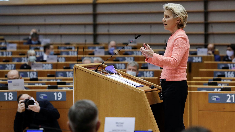 """2020年9月16日,歐洲聯盟執行委員會主席馮德萊恩發表年度歐盟盟情諮文,在提到中國問題時,她表示,""""歐中關係是當今最重要也是最具挑戰性的關係之一。""""(路透社圖片)"""