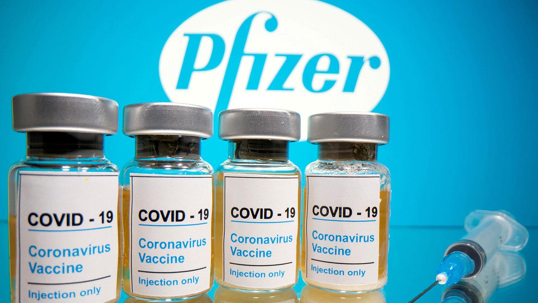 美国辉瑞制药公司(Pfizer)研制的新冠病毒疫苗。(路透社)