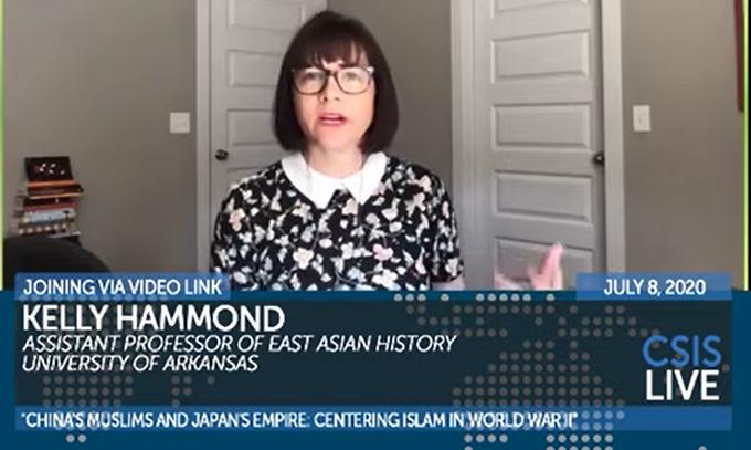 新书《中国穆斯林与日本帝国》作者哈蒙德(Kelly Hammond)(视频截图)