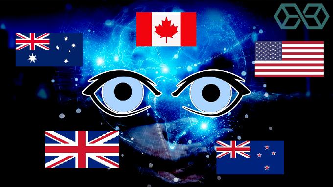 """""""五眼联盟""""现有成员国的国旗(Public Domain)"""