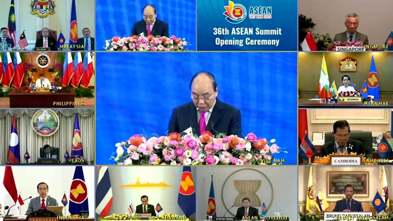 2020年6月26日,东盟10个成员国通过视频展开年度峰会,聚焦武汉肺炎疫情以及南中国海主权问题。(路透社)