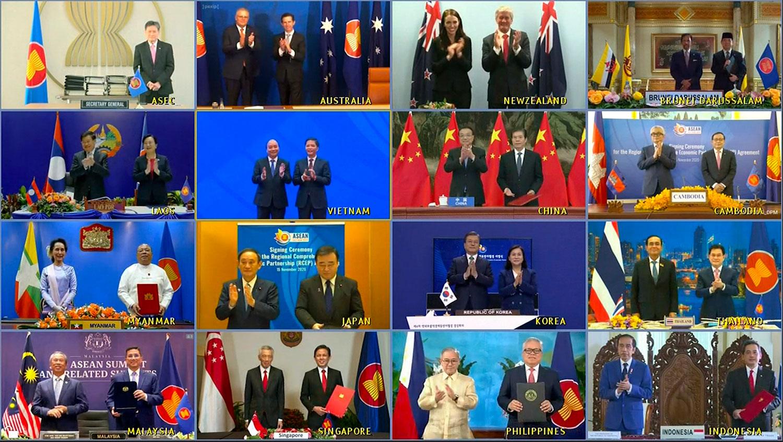 《区域全面经济伙伴关系协定》RCEP的签署仪式周日(15日)在越南河内举行,十五个参与国家代表以视像形式与会,并由经贸部长签署协定。(AP)
