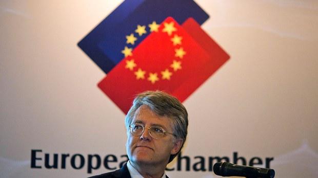 中国欧盟商会主席伍德克(Joerg Wuttke)周二强调,其会员公司在中国的经营仍面临重大挑战。(美联社图片)