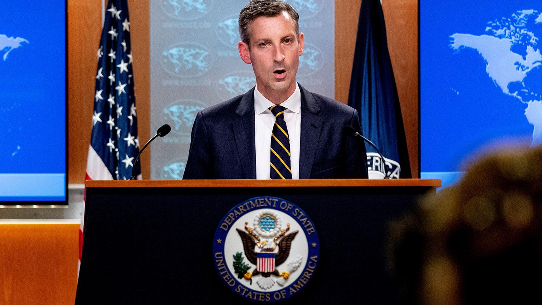 """2021 年 8 月 18 日,美国国务院发言人普莱斯(Ned Price)在记者会重申""""对台政策没有改变。(路透社)"""