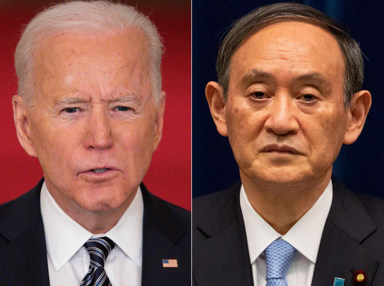 美國與日本首腦峯會預計16日在華盛頓登場。圖爲,美國總統拜登與日本首相菅義偉。(AFP)