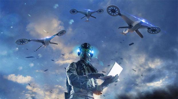 蜂群式自主无人机将是智能化战争的主角之一。图为美国国防部示意图。(www.defense.gov)