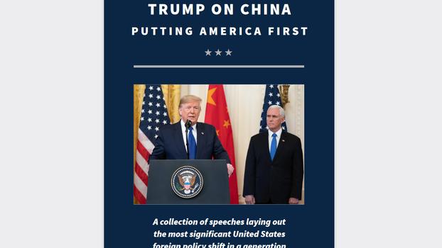 在美国总统大选投票的前一天,美国国家安全委员会推出网络版新书《特朗普论中国:把美国置于首位》,该书汇集了特朗普总统及其内阁成员有关对华政策的系列演讲。(网站截图)