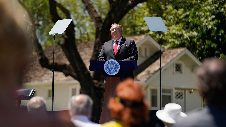 2020年7月23日,美国国务卿蓬佩奥在加州的理查德·尼克松总统图书馆发表对华演讲。(美联社)