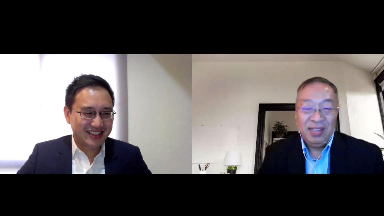 美国前国务卿蓬佩奥的中国政策首席顾问余茂春(右)前台湾驻美代表处政治组组长赵怡翔(左)。(RFA制图)
