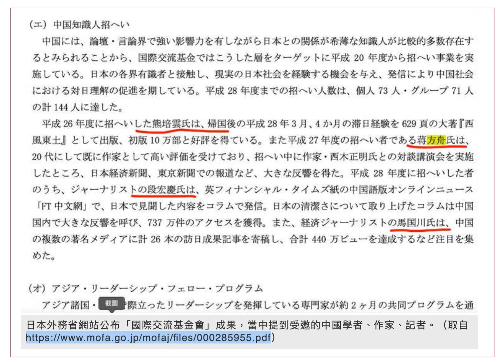 日本外务省最近公布,截至2019年为止共有196名中国知识分子接受日方赞助赴日,包括中国政法大学教授何兵、作家蒋方舟、熊培云、记者段洪庆等名人。(翻摄自自由时报)
