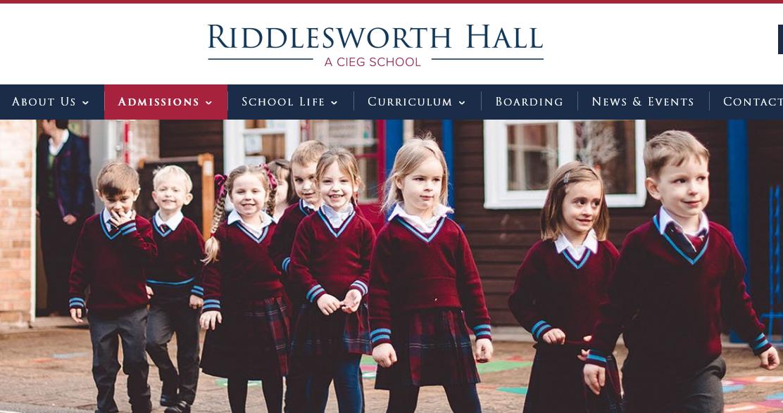 有超过两百年历史的里德尔斯沃思霍尔学校(Riddlesworth Hall School)。(网站截图)