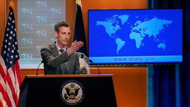 美国国务院发言人普赖斯(Ned Price)4月6日在例行记者会表示,美国会和盟友就抵制北京冬奥进行密切磋商,基于共同利益、共同价值观协调行动。(路透社资料图)