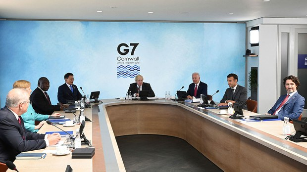 美国通过G7峰会拉拢盟国,应对中国的扩张与挑战。(路透社图片)