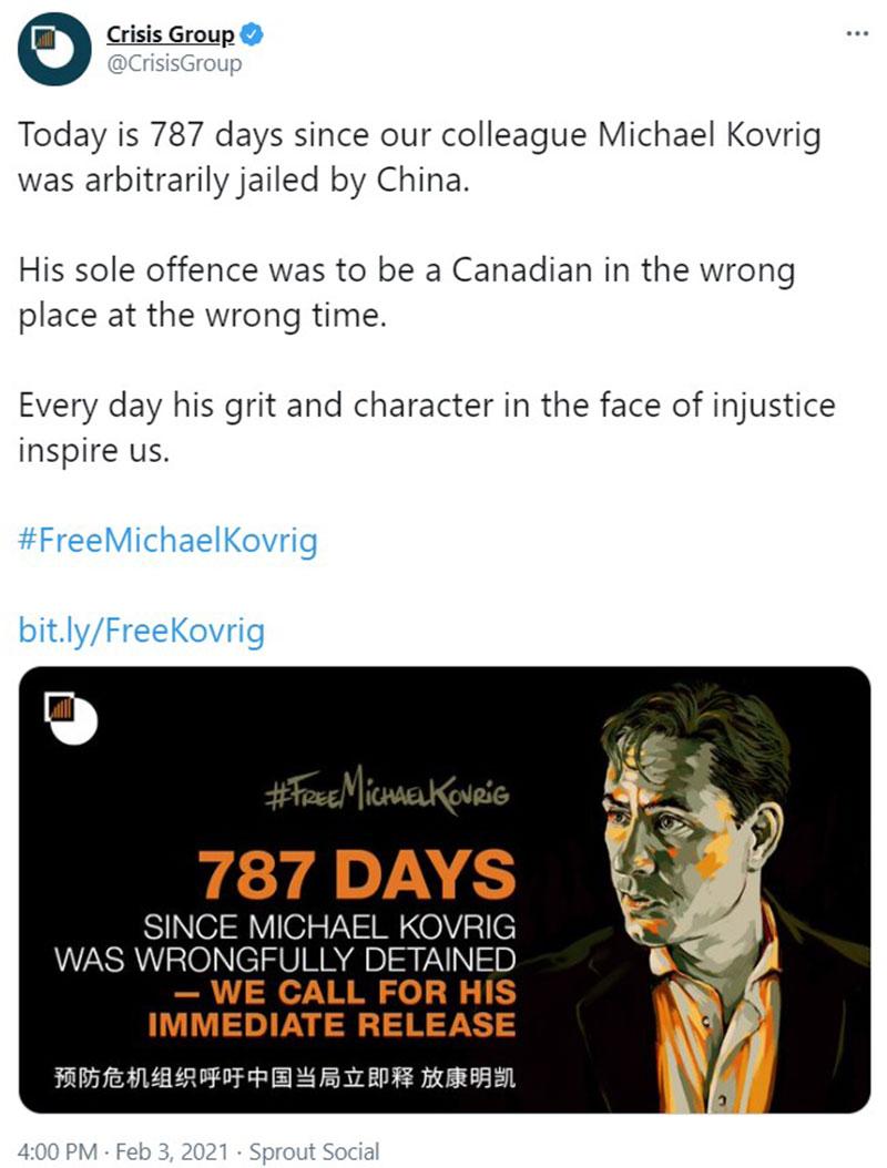 2月3日是康明凯生日,国际危机组织继续呼吁中国放人。(推特截图)