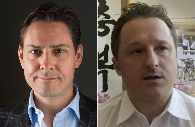 被中国逮捕的加拿大公民康明凯(左)(法新社)及斯帕弗(美联社)