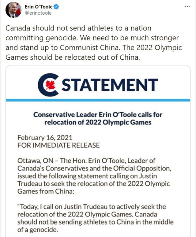 加拿大保守党在国会上和在社交媒体上倡议2022冬奥另择他国主办。   (推特截图)(photo:RFA)
