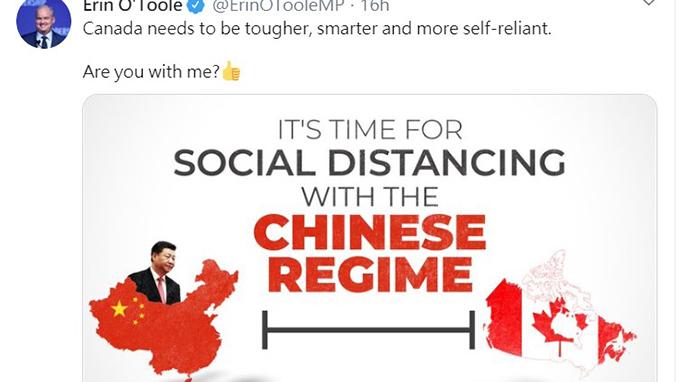 加拿大国会议员奥图尔发推特谴责中国,呼吁和中国保持距离。 (推特截图)