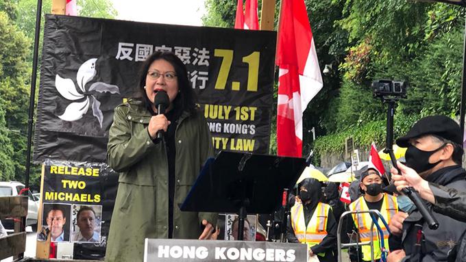加拿大韩裔国会议员申丽妮称民主自由是普世价值  (柳飞摄)