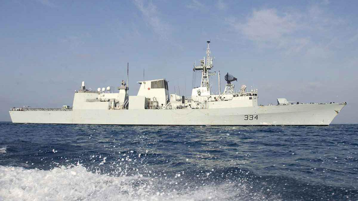 """加拿大海军护卫舰""""里贾纳""""号。(图源:加拿大政府官网)"""