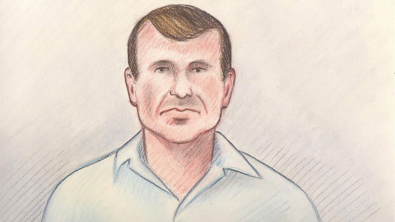 皇家骑警情报部门主管奥蒂斯(Cameron Ortis)涉窃取国家安全资料。图为奥蒂斯在法庭上的描绘图。(路透社)
