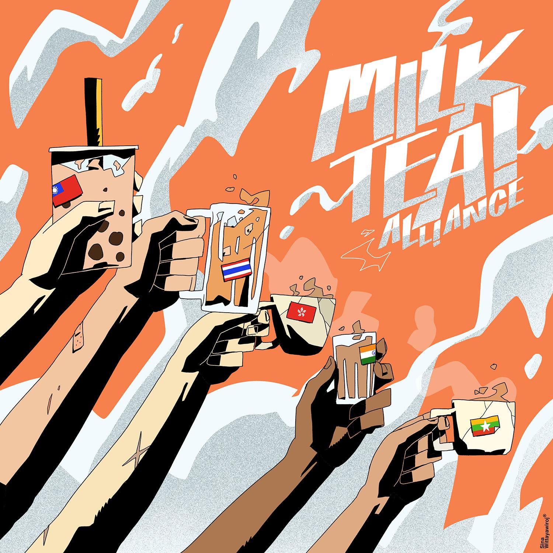 2021年2月1日,奶茶聯盟的藝術品在泰國曼谷創作。(路透社)