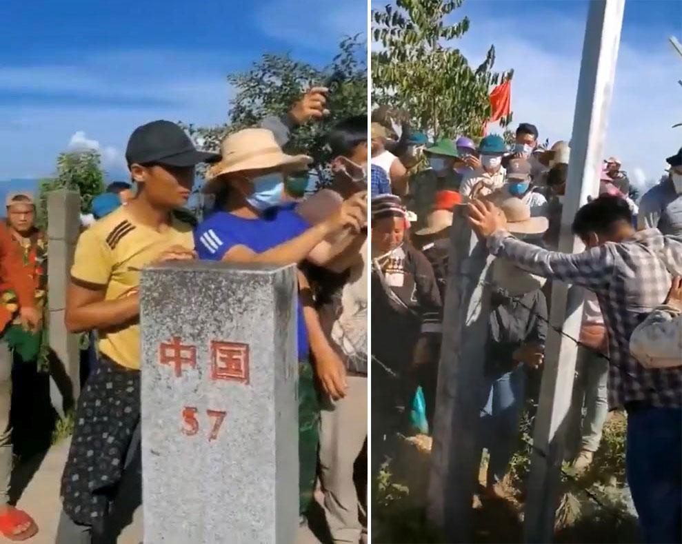 左图:中国广西中越边界57号界桩,9月15日,越方边民拆中方铁丝网隔离墙。 右图:在越南谅山公安带领下,众多边民拆铁丝网。(乔龙提供)