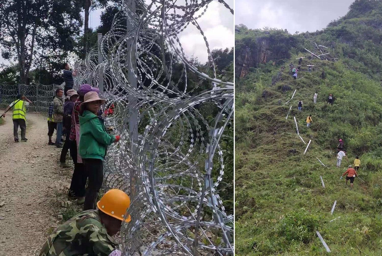 左图:中越边界线上,中方人员在布署铁丝网。 右图:中越边境铁丝网长达近千公里。(乔龙提供)