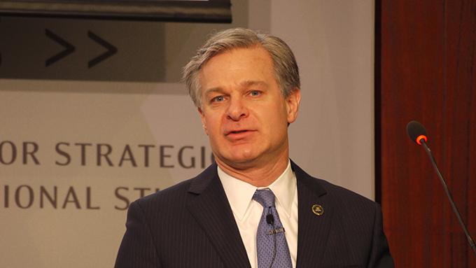 美国联邦调查局长克里斯托弗·雷6日表示,中国政府主导的非法间谍渗透行为,美国不会容忍。(自由亚洲电台记者郑崇生摄)